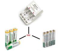 ΣΕΤ Φορτιστής επαναφορτιζόμενων μπαταριών + Μπαταρίες ΑΑ + Μπαταρίες ΑΑΑ