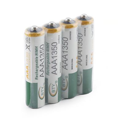 Επαναφορτιζόμενες μπαταρίες AAA 1350mAh - ΣΕΤ 4 TEMAXIΩΝ - BTY