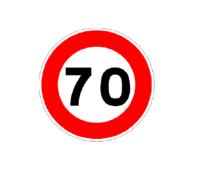 Σήμα ορίου ταχύτητας 70 φορτηγών αυτοκόλλητο Διάμετρος Αυτοκόλλητου : 14cm