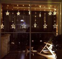 Κουρτίνα 5 μέτρα με αστέρια 8W/220V σε ασύμμετρο ύψος