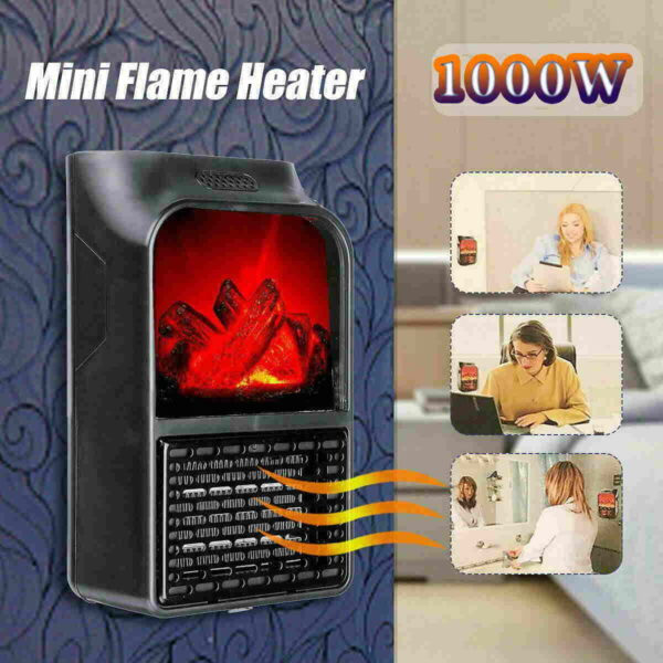 Mini κεραμικό αερόθερμο με εφέ φλόγας 1000w με τηλεχειριστήριο - Flame Heater 1000W