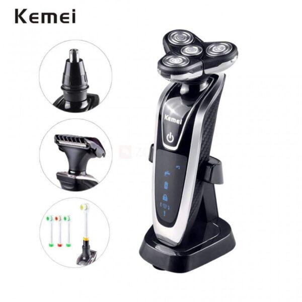 Kemei KM-5181- Ξυριστική μηχανή 4D, Περιποίηση μύτης αυτιών, Τριμάρισμα, Οδοντόβουρτσα 4 σε 1