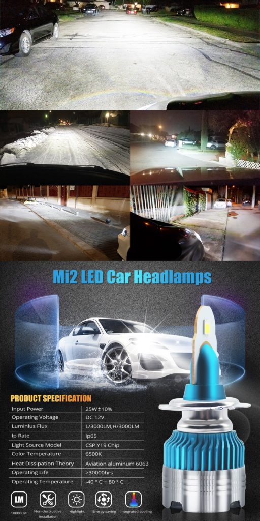 Led Mini H7 Mi2 headlight 12/24V 50w 6000LM 6500K