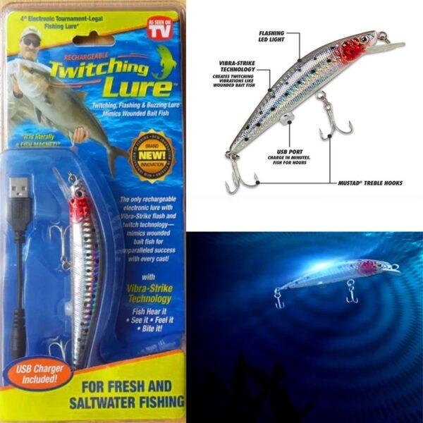 Επαναφορτιζόμενο τεχνητό δόλωμα ψαράκι με ήχο, δόνηση και φωτισμό LED - Twitching Lure