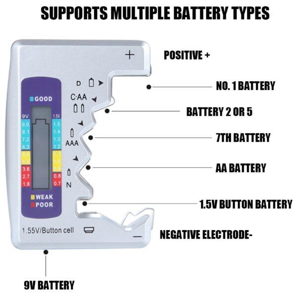 Μετρητής- tester μπαταριών με LCD οθόνη για μπαταρίες C/D/N/AA/AAA/9V - OEM DLJ0012