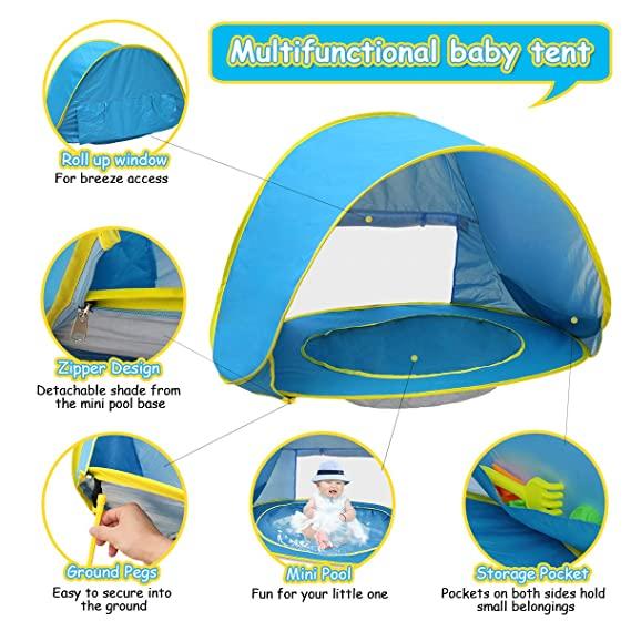 Παιδική τέντα με πισίνα και προστασία απο τον ήλιο - OEM