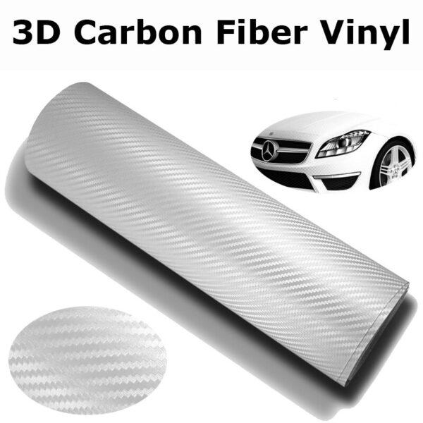 Ρολό 3D CARBON 152 x 150cm Λευκό – Αυτοκόλλητη διακοσμητική ταινία ανθρακονήματος