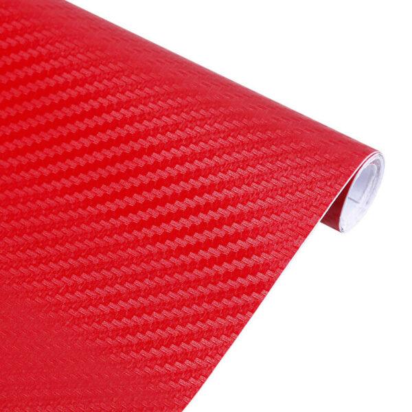 Ρολό 3D CARBON 152x200cm Κόκκινο – Αυτοκόλλητη διακοσμητική ταινία ανθρακονήματος