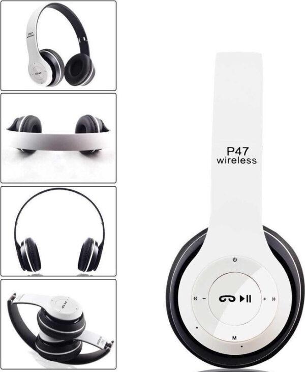 Ασύρματα ακουστικά κεφαλής - Bluetooth Headphones 4.2 + EDR - P47 ΛΕΥΚΟ