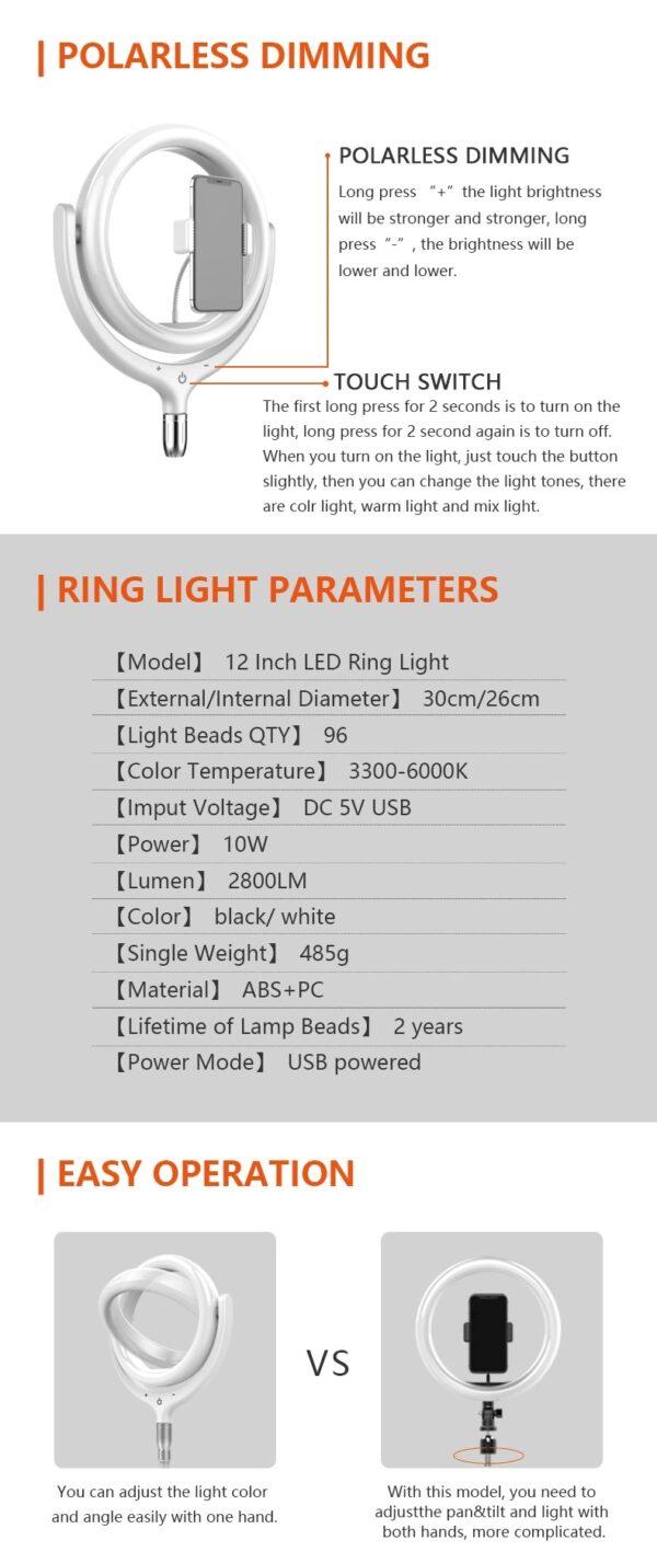 Φωτογραφικός φωτισμός-Ring lamp light LED USB 26cm με κουμπιά αφής, 3 χρώματα, dimmer, τρίποδο & βάση για κινητό