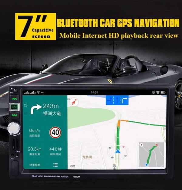 2Din Car Radio Multimedia Player 7026GM 7'' GPS, Bluetooth MP4 - MP5 Mirror Link Rear View Camera DVR Audio Stereo
