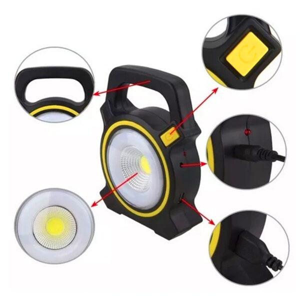 Ηλιακός επαναφορτιζόμενος φορητός προβολέας LED – Powerbank COB Working Light – JY-819A