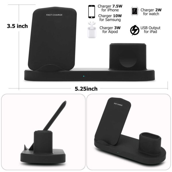 Q600 Ασύρματη βάση φόρτισης Apple 4 σε 1 - Charging Station for iPhone, iWatch, Earpods & USB Black