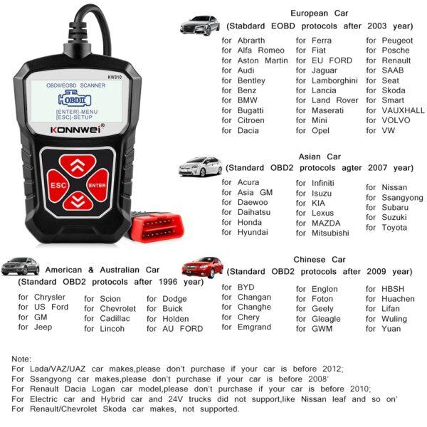 Ψηφιακό διαγνωστικό αυτοκινήτων OBDII/EOBD – Konnwei – KW310