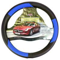 Κάλυμμα τιμονιού αυτοκινήτου δερματίνη X-Treme sport μαύρο-μπλε medium 38cm