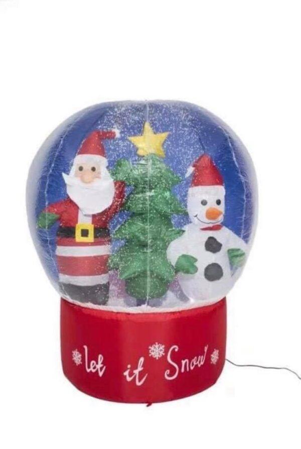 Φουσκωτή Χριστουγεννιάτικη χιονόμπαλα 1.60μ με εφέ χιονιού και φωτισμό
