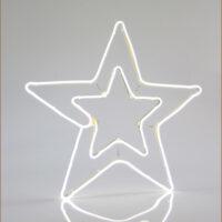 Χριστουγεννιάτικο διπλό αστέρι LED με λευκό φωτισμό