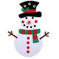Παιδικός χιονάνθρωπος τοίχου με διάφορα στολίδια