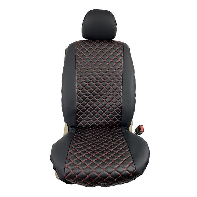 Ημικαλύμματα αυτοκινήτου δερματίνη Royal ζευγάρι 2τμχ μπροστινά μαύρα με κόκκινη ραφή