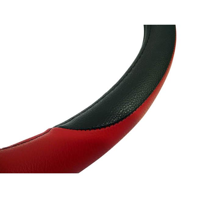 Κάλυμμα τιμονιού αυτοκινήτου δερμάτινο μαύρο-κόκκινο medium 38cm